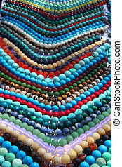 Colorful beads background - Colorful beads in line as...