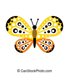 Colorful beautiful butterfly with open wings vector Illustration