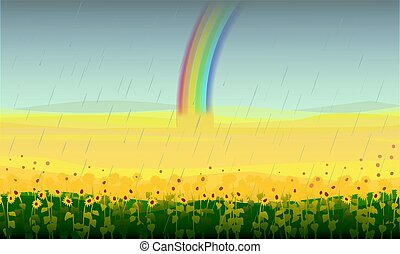 Colorful Beautiful Field Landscape Background