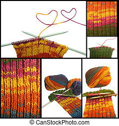 knitted wool collage