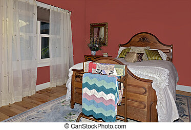 Colorful Bedroom - A colorful bedroom with antique chestnut...