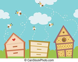 Colorful Bee Hives House - Colorful Illustration Featuring...
