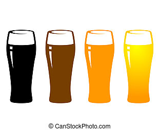 colorful beer glasses on white background