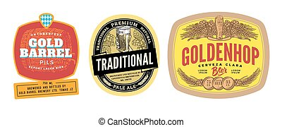 Colorful Beer Labels Set
