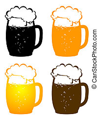 colorful beer mugs with bubbles on white background