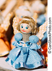 Colorful Belarusian Straw Doll At Local Market In Belarus