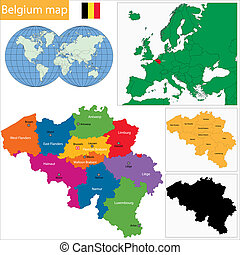 Belgium map - Colorful Belgium map with provinces and main...