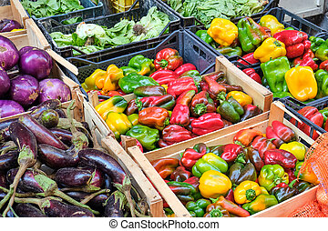 Colorful bell peppers and other vegetables
