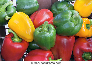 Colorful Bell Peppers Closeup