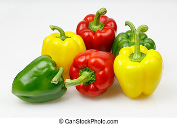 Colorful bell peppers, on white background.