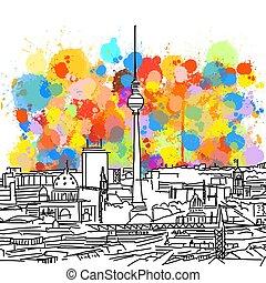 Colorful Berlin Skyline Sketch. Hand Drawn Vector...