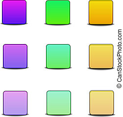 Colorful bevel styled icon set