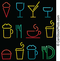colorful beverage and food set , illustration