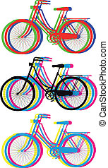 colorful bicycle silhouettes