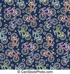 Colorful bicycle stickers on dark blue pattern