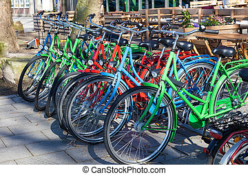 Colorful bicycles in the city of Bremen, Germany