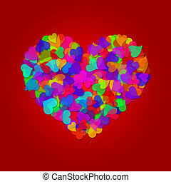 Colorful Big Valentines Day Hearts on Red Background