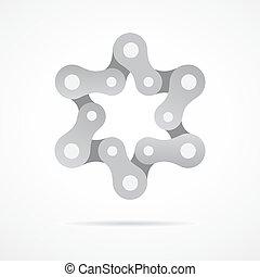 colorful bike chain star. david star , illustration