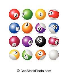 Colorful Billiard Balls Set. Vector - Colorful Billiard...