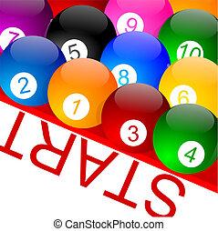 Colorful billiard balls