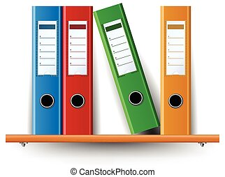 Binder set on wood shelf - Colorful Binder set on wood shelf