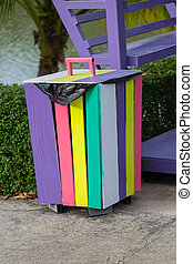 Colorful bins wood in the garden