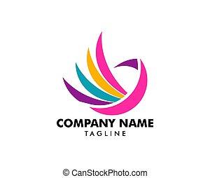 Colorful Bird Abstract Logo design vector template