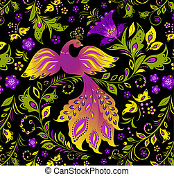 colorful bird and abstract plant