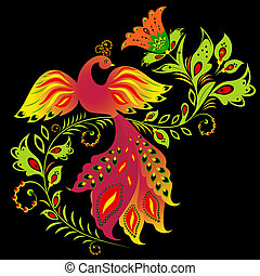Colorful bird and flower - Illustration of traditional...