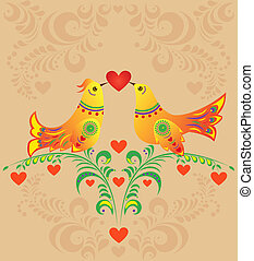 colorful bird couple