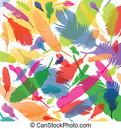 Colorful bird feathers background illustration