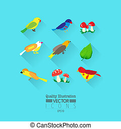 Colorful Bird Flat Vector Icon