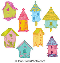 Colorful Bird Houses - hand drawn in vector - for design and scrapbook