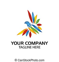 Colorful bird logo. Vector Illustration on white background
