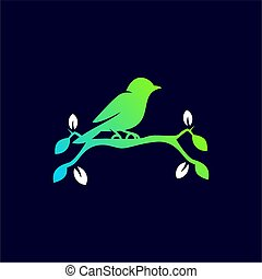 colorful bird on the twig modern logo
