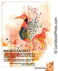Colorful Bird on watercolor effect background