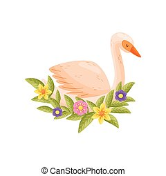 Colorful bird on white background. Vector flat illustration.