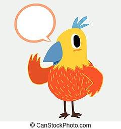 Colorful bird talking