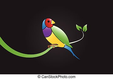 Colorful bird vector - Finch beautiful colorful bird on a...
