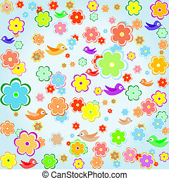 colorful bird with Spring flower background