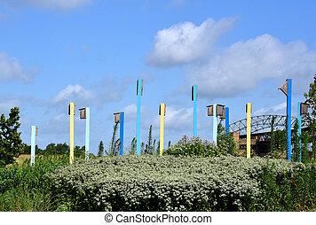 Colorful Birdhouses in Riverfront Park Memphis