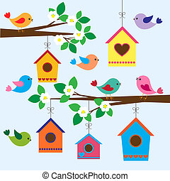 birdhouses in spring - Colorful birds and birdhouses in...