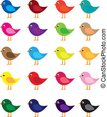 birds cartoon - colorful birds cartoon isolated over white ...