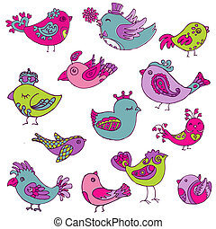 Colorful Birds Doodle Collection - hand drawn in vector - for design and scrapbook
