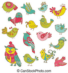 Colorful Birds Doodle Collection - hand drawn in vector -...