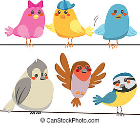 Colorful Birds - Six cute and colorful sweet little birds...