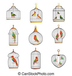 Colorful birds in cages set vector Illustrations on a white...