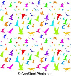 Colorful birds seamless pattern