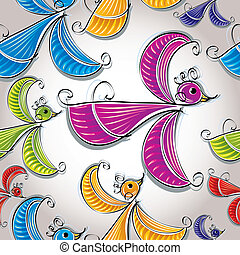 Colorful birds seamless pattern.