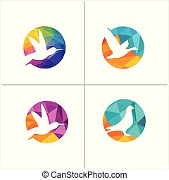 colorful birds vector logo design, freedom, happiness, fly, in circle hummingbird, flying duck illustration